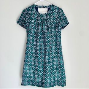 J. Crew green & navy silk dress size 0